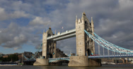 Ultra HD 4K Famous Tower Bridge, London England, UK Thames River Ship Passing Stock Footage