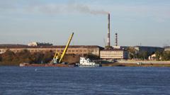 Grab crane working (Blagoveshchensk) Stock Footage