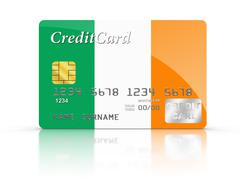 Credit card covered with irish flag. Stock Illustration