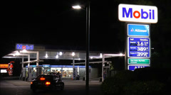 Mobil Gas Station on highway Stock Footage