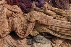 heap fishing net. - stock photo