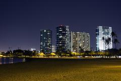 Ala Moana Skyline at Night (Honolulu) Stock Photos