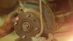 Master Working With Brake Disc - stock footage