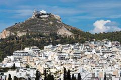 View of Mount Lycabettus in Athens - stock photo