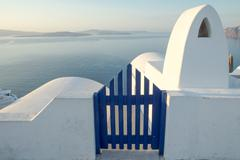 View to the sea in Oia Stock Photos