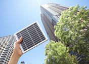 Stock Photo of High-rise condominiums and a solar panel
