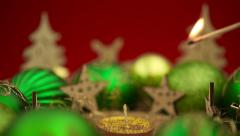 Christmas decoration with burning candle Stock Footage