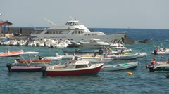 Capo Mulini, Sicily, boats, little port. Stock Footage