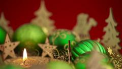 Panning over christmas wreath with candle Stock Footage