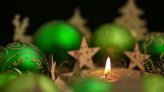 christmas wreath with candle at night - stock footage