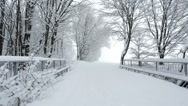 Stock Video Footage of snow covered path over bridge near winter forest