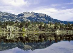 usa, co, rocky mt, reflection from lake - stock photo