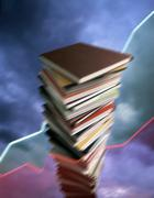 pile of books, progress, movement - stock illustration