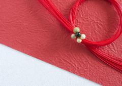 Red Mizuhiki (Japanese decorative paper cords) - stock photo