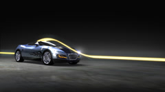 Racing Sports Car with abstract light streaks Stock Footage