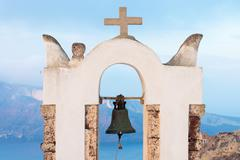Small belltower in Oia - stock photo
