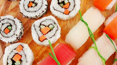 Maki and Nigiri Sushi Stock Footage