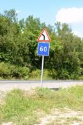 Traffic sign on a road Stock Photos