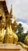 three headed naga statue - stock photo