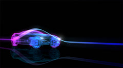 X-ray sports car with abstract light streaks Stock Footage