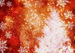 Christmas tree and snow crystals, CG Stock Photos