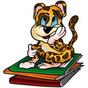 Leopard and Workbooks - stock illustration