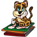 Leopard and Workbooks Stock Illustration