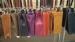Shopping for coloured hand bags Stock Footage