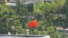 China embassy flag Stock Footage
