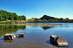 View of Cawfields Quarry, Hadrians Wall - stock photo