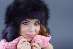 beauty fashion model girl in a fur hat - stock photo