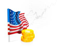 Stock Illustration of U.S. Flag with coins