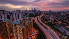 Timelapse Of Sunset View Of Kuala Lumpur Skyline Stock Footage