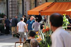 Guy Ritchie filming in Rome (The director on set, Man from U.N.C.L.E) - stock photo