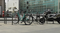 Background Urban bicycle with contemporary art museum. Stock Footage