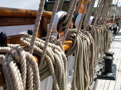 old sailboat ropes - stock photo