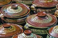 Stock Photo of large ceramic pots, traditional romanian 1
