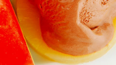 Plate of fruits and icecream Stock Footage