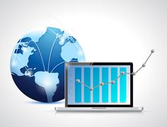 Globe network and laptop business graph Stock Illustration