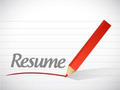 Stock Illustration of resume message written