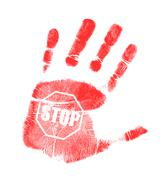 handprint stop sign illustration design - stock illustration