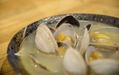 boiled clam with soup in japanese style - stock photo