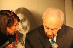 Stock Photo of Shimon Peres Anne Frank