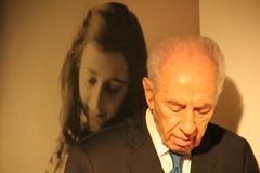Shimon Peres Anne Frank - stock photo