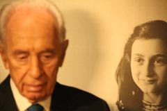 Shimon Peres Anne Frank Stock Photos