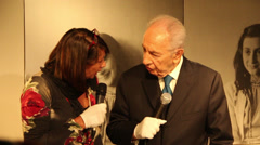 Shimon Peres Anne Frank Stock Footage