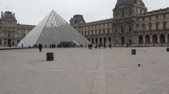 The Louvre Pyramid (Pyramide du Louvre) Stock Footage