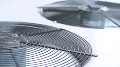 Air conditioner unit fans spinning Stock Footage