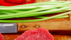 Fresh beef fillet with thyme Stock Footage