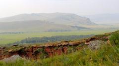 Khakassia chest panorama steadicam Stock Footage